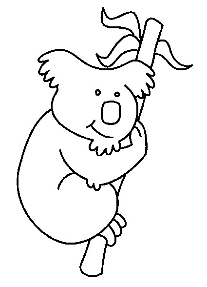 Coloriage et dessins gratuits Koala s'accroche sur l'arbre à imprimer