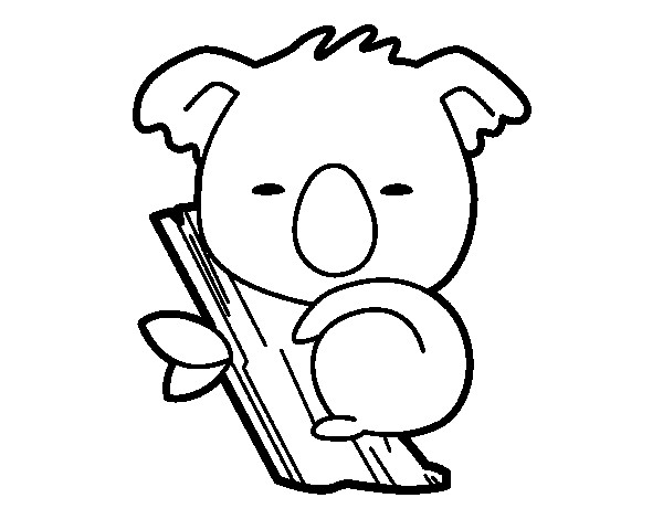 Coloriage et dessins gratuits Petit Koala en dormant sur l'arbre à imprimer