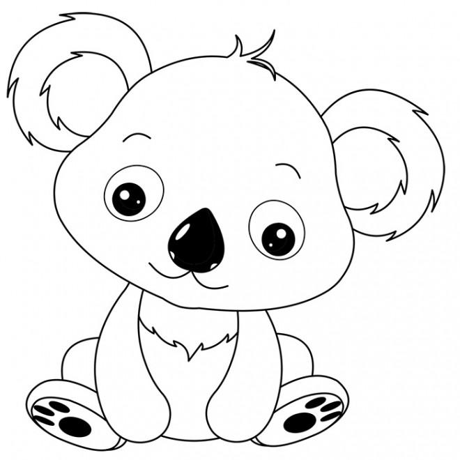 Coloriage petit koala trop mignon dessin gratuit imprimer - Dessin d animaux trop mignon ...