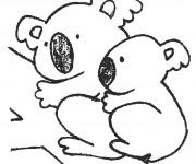 Coloriage et dessins gratuit Une maman Koala et son petit à imprimer