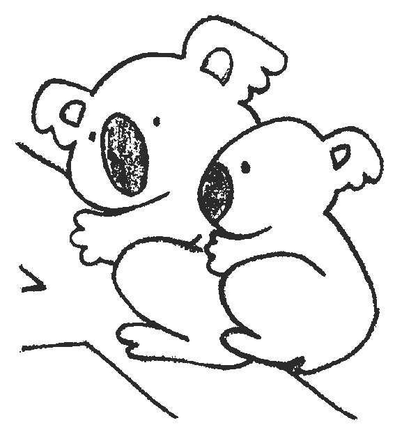 Coloriage et dessins gratuits Une maman Koala et son petit à imprimer