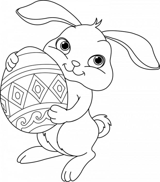 Coloriage et dessins gratuits Lapin avec ouef décoré à imprimer