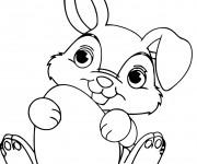 Coloriage et dessins gratuit Lapin de Pâques trop mignon à imprimer