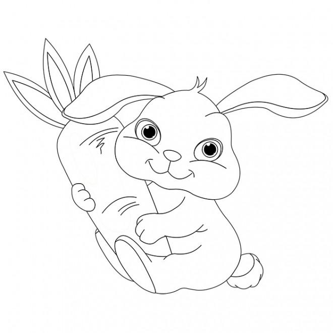 Coloriage lapin et carotte dessin gratuit imprimer - Dessin d animaux trop mignon ...