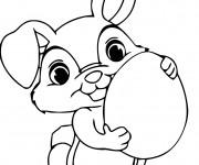 Coloriage et dessins gratuit Lapin mignon porte un oeuf à imprimer