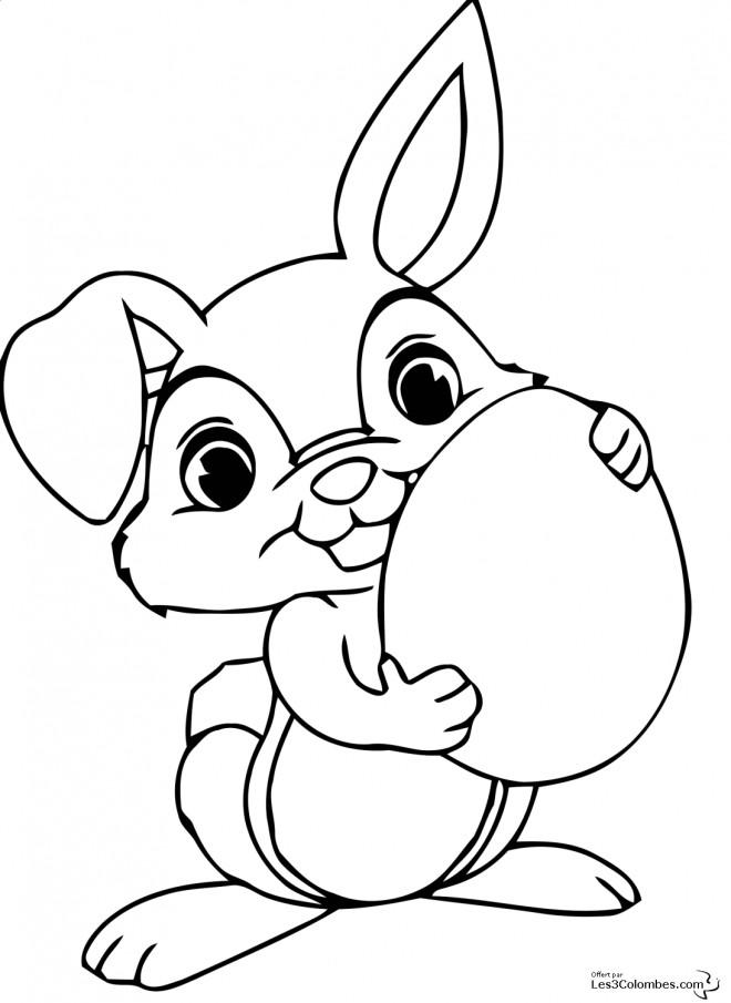 Coloriage et dessins gratuits Lapin mignon porte un oeuf à imprimer