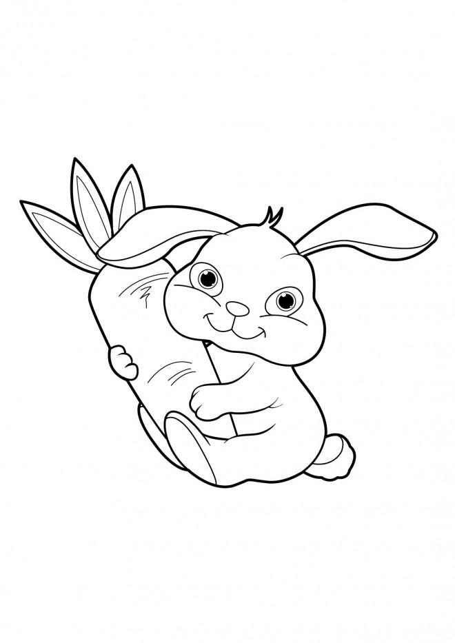 Coloriage Lapin qui aime le carotte dessin gratuit à imprimer