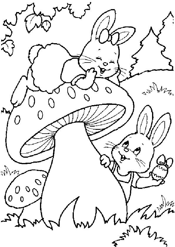 Coloriage et dessins gratuits Lapin sur champignon à imprimer