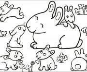 Coloriage Lapins en famille