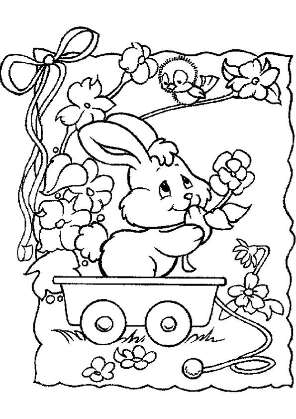 Coloriage et dessins gratuits Un Lapin qui porte des fleurs à imprimer
