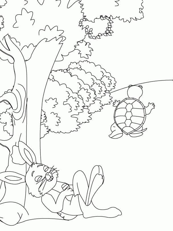 Coloriage et dessins gratuits Lièvre et Tortue à imprimer