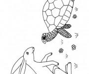 Coloriage Lièvre et tortue dessin animé