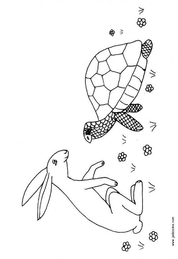 Coloriage et dessins gratuits Lièvre et tortue dessin animé à imprimer