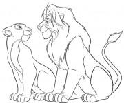 Coloriage dessin  Le Roi Lion et Nala se regardent