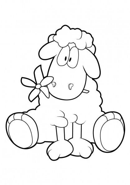 Coloriage et dessins gratuits Mouton et fleur à imprimer
