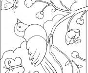 Coloriage et dessins gratuit Oiseau dans la nature à imprimer