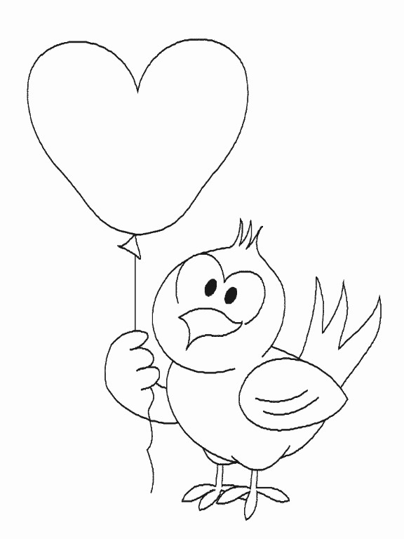 Coloriage et dessins gratuits Oiseau et coeur à imprimer