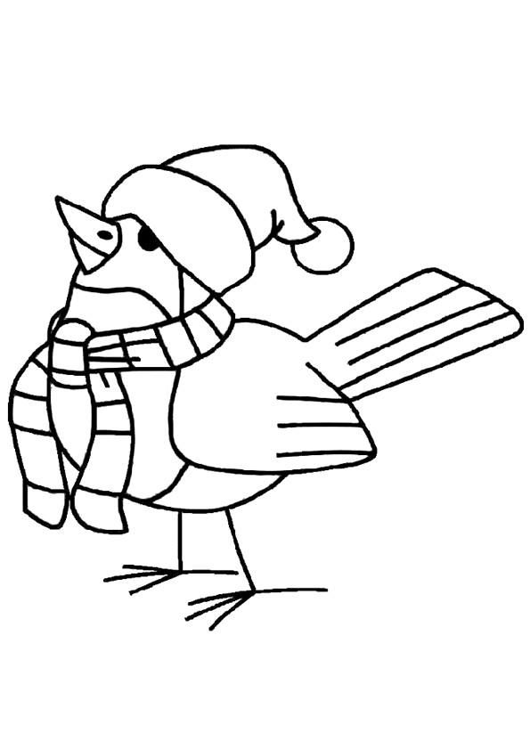 Coloriage Oiseau Portant Un Bonnet Dessin Gratuit à Imprimer