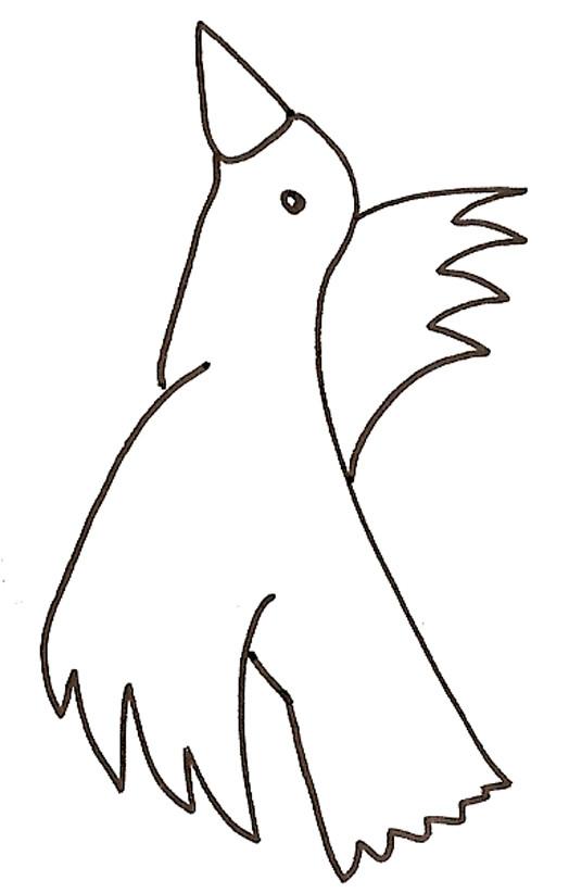 Coloriage et dessins gratuits Oiseau regarde en haut à imprimer