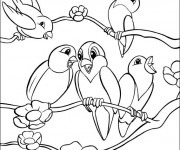 Coloriage Oiseaux en train de chanter