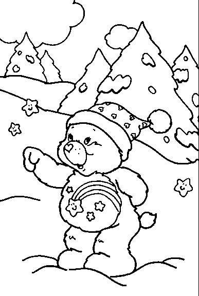Coloriage et dessins gratuits Calinours s'amusant dans la neige à imprimer