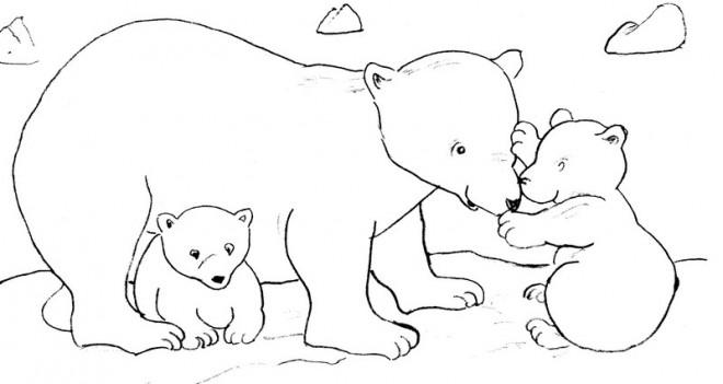 Coloriage et dessins gratuits Grizzly et ses petits à imprimer