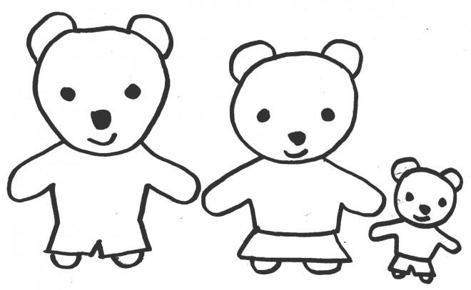 Coloriage et dessins gratuits Ours en famille à imprimer