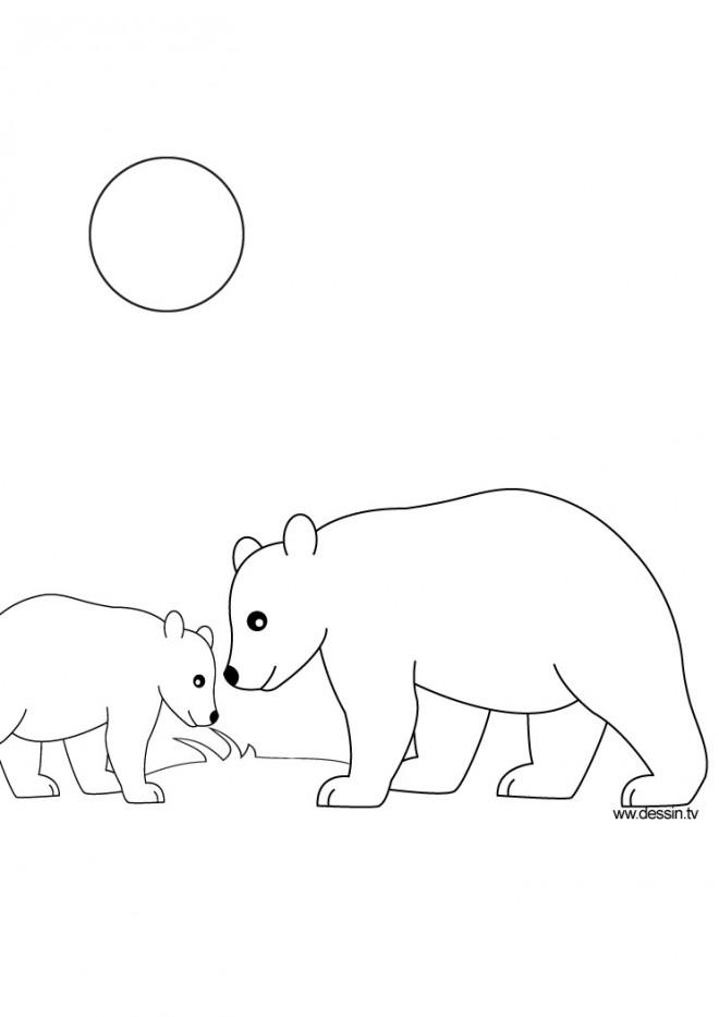 Coloriage et dessins gratuits Ours en plein air à imprimer