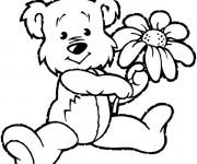 Coloriage Ours et fleur