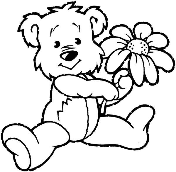 Coloriage Ours Et Fleur Dessin Gratuit à Imprimer