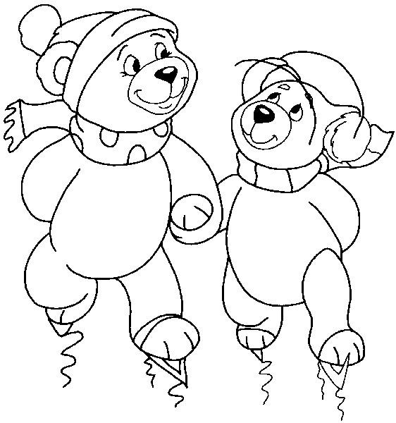 Coloriage et dessins gratuits Ours font du Ski à imprimer