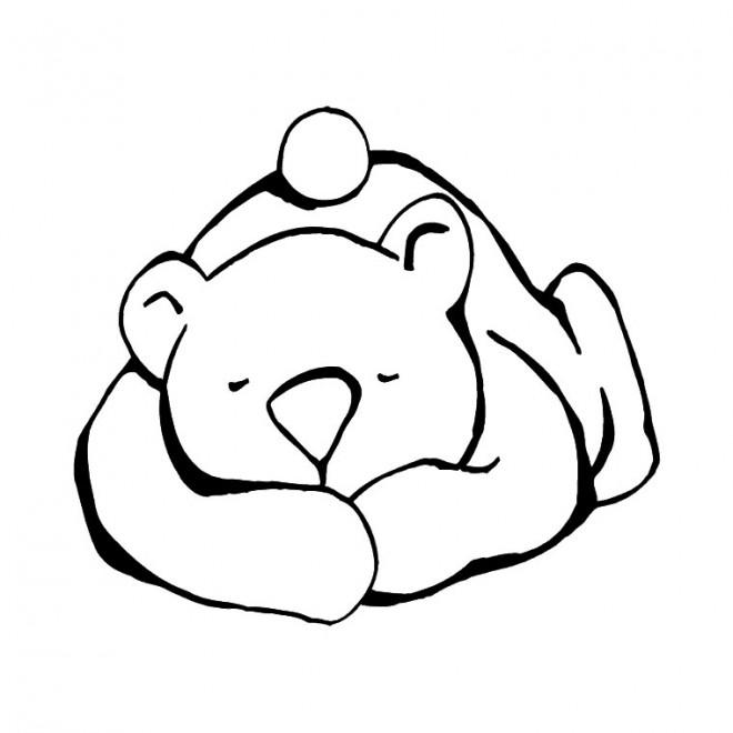 Coloriage et dessins gratuits Ours qui dort à imprimer