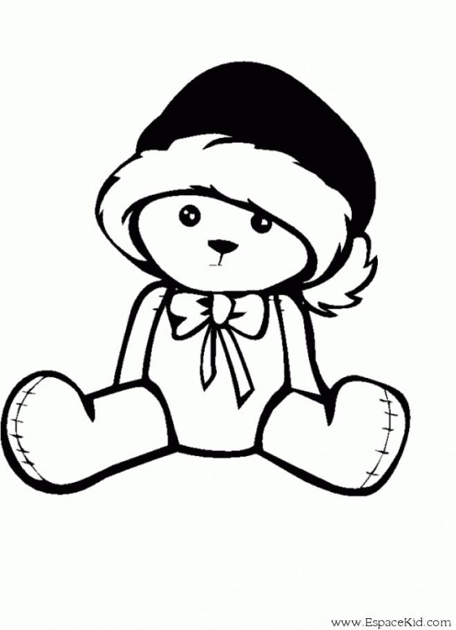 Coloriage Ourson portant un chapeau dessin gratuit à imprimer