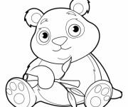 Coloriage et dessins gratuit Panda avec beaux yeux à imprimer