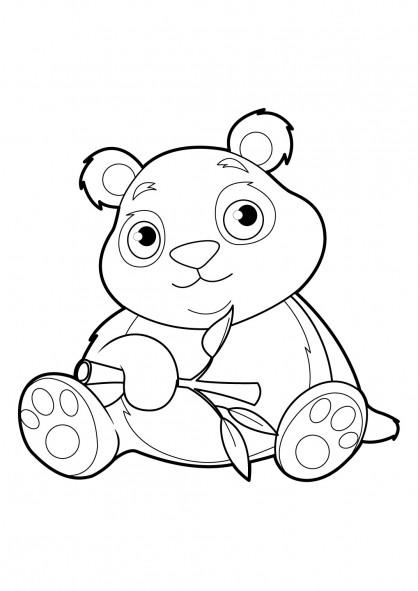 Coloriage et dessins gratuits Panda avec beaux yeux à imprimer