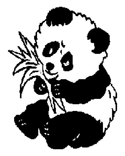 Coloriage et dessins gratuits Panda en mangeant à imprimer