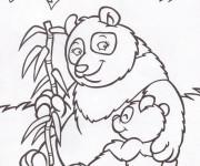 Coloriage et dessins gratuit Panda et son bébé à imprimer