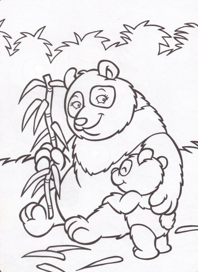 Coloriage et dessins gratuits Panda et son bébé à imprimer