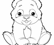 Coloriage et dessins gratuit Panda trop mignon à imprimer