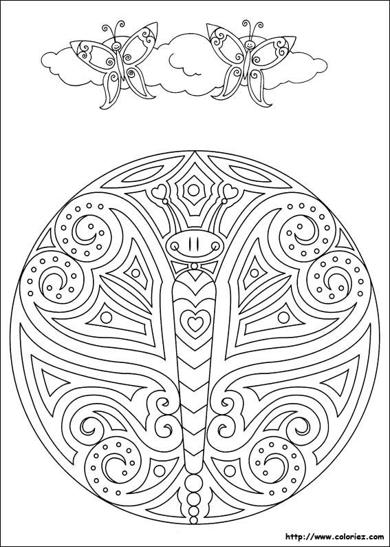 Coloriage et dessins gratuits Papillon mandala à imprimer