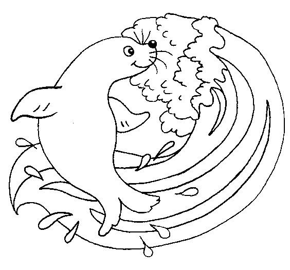 Coloriage et dessins gratuits Phoque et la mer à imprimer