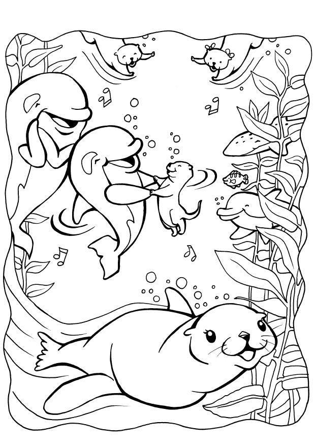 Coloriage phoque et ses amis dans la mer dessin gratuit - Coloriage de phoque ...