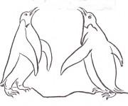 Coloriage et dessins gratuit Les pingouins se communiquent à imprimer