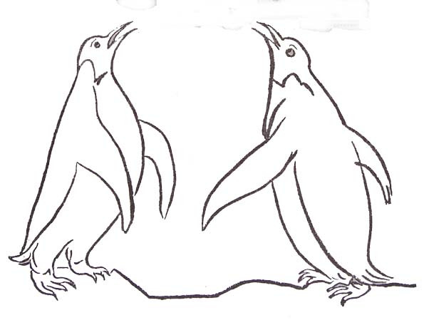 Coloriage et dessins gratuits Les pingouins se communiquent à imprimer