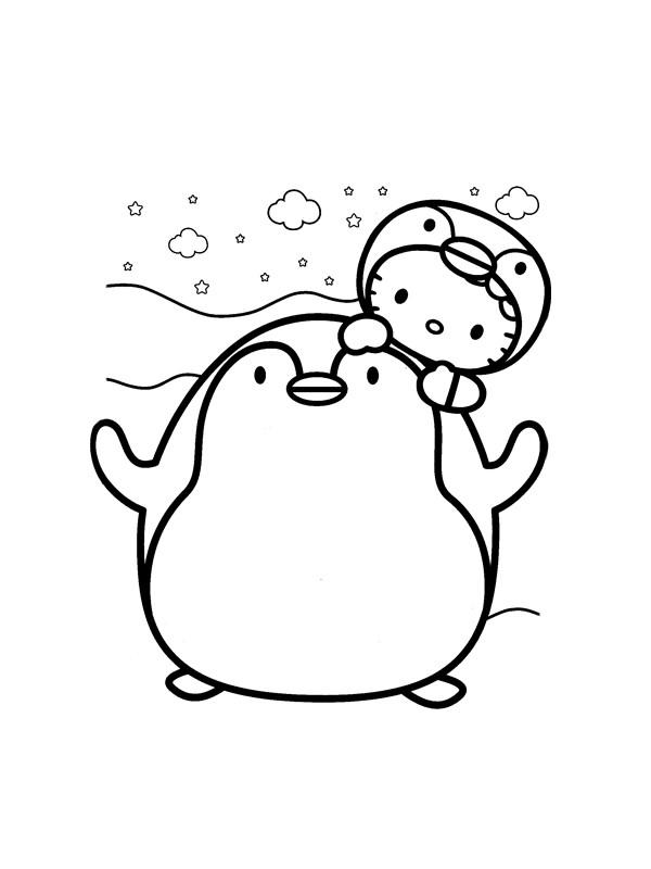Coloriage et dessins gratuits Pingouin de Hello Kitty à imprimer