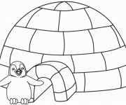 Coloriage et dessins gratuit Pingouin devant sa maison à imprimer