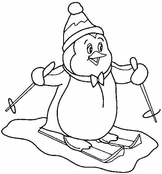 Coloriage pingouin fait du ski dessin gratuit imprimer - Coloriage pinguoin ...