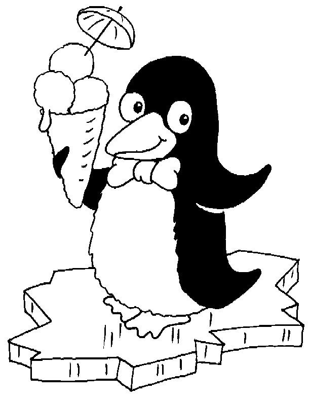 Coloriage et dessins gratuits Pingouin mange de la glace à imprimer