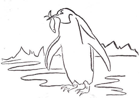 Coloriage et dessins gratuits Pingouin pêche à imprimer