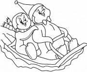 Coloriage et dessins gratuit Pingouins en jouant sur la neige à imprimer